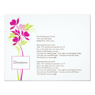 Stylish Pink & Green Bouquet Direction Card