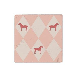 Stylish Pink Harleqiun Horse Pattern Stone Magnet