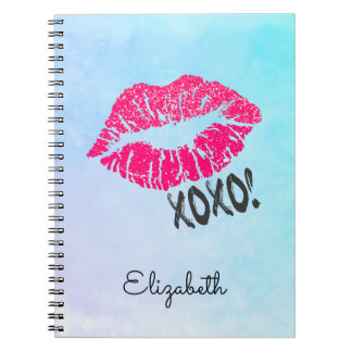 Stylish Pink Kissy Lips with xoxo! Blue Watercolor Spiral Notebook