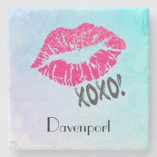 Stylish Pink Kissy Lips with xoxo! Personalized Stone Coaster
