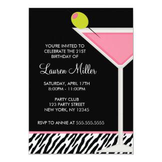 Stylish Pink Martini Glass Birthday Party 13 Cm X 18 Cm Invitation Card