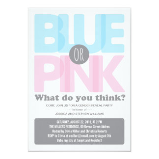 Stylish Pink or Blue Baby Gender Reveal Party 13 Cm X 18 Cm Invitation Card