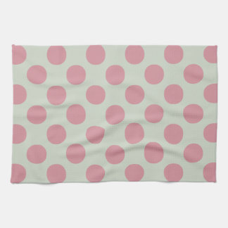 Stylish Pink Polka Dots Light Green Background Tea Towel