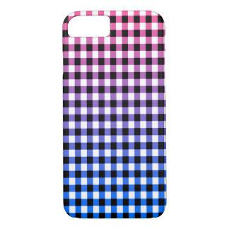 Stylish pink, purple, blue Gingham check design iPhone 7 Case