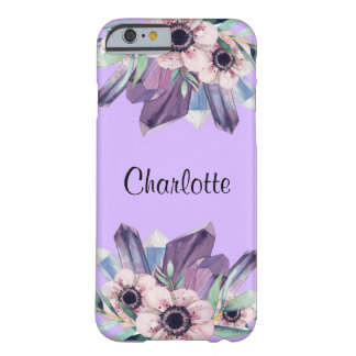 Stylish Pink Purple Floral Crystals iPhone 6 Case