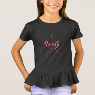 Stylish Pink / Purple Paris Ruffle T-Shirt