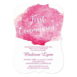 Stylish Pink Watercolor First Communion 13 Cm X 18 Cm Invitation Card