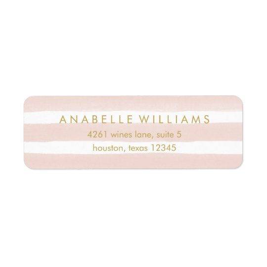 Stylish Pink Watercolor Stripes Return Address Label