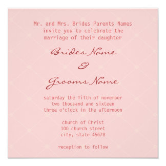 Stylish Pink Wedding Invitation