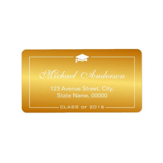 Stylish Plain Gold Gradient -  Graduation Cap Label