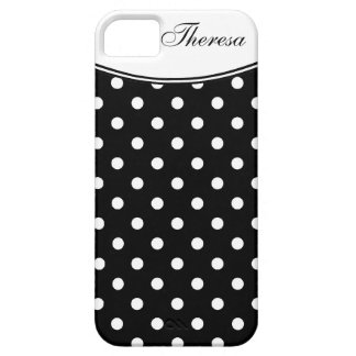 Stylish  Polka Dot Pattern with Name iPhone 5 Case