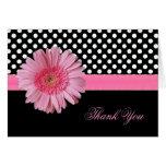 Stylish Polka Dot & Pink Daisy Thank You Card