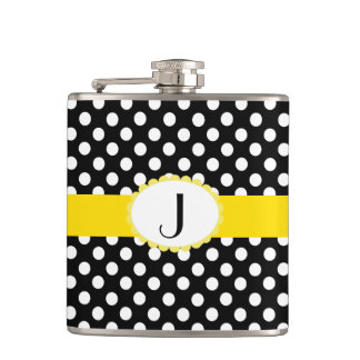 Stylish Polka Dots and Monogram Flask