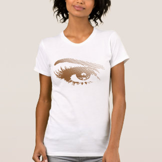 Stylish Pretty Eye of Woman in Halftone - Brown T-Shirt