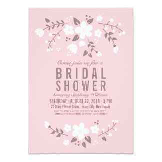 Stylish Pretty Floral Pink Bridal Shower Invite