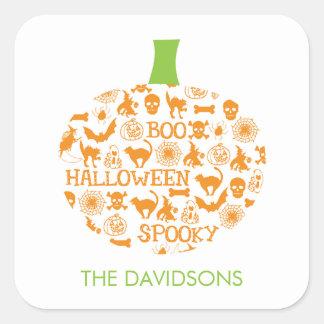 Stylish Pumpkin Halloween Gift Tag Stickers