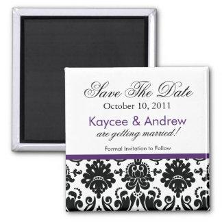 Stylish Purple Damask Save The Date Magnet