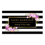 Stylish Purple Floral Gold Black White Stripes Pack Of Standard Business Cards