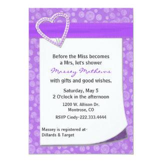 Stylish Purple Heart Bridal Shower Invitation