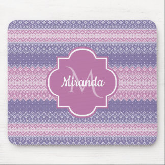 Stylish Purple Knit Pattern With Monogram and Name Mouse Pad