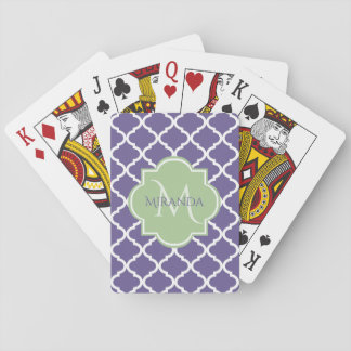 Stylish Purple Quatrefoil and Name Green Monogram Playing Cards