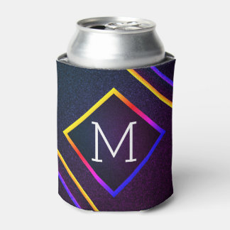Stylish Purple & Rainbow Outlines With Monogram Can Cooler