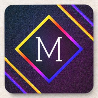 Stylish Purple & Rainbow Outlines With Monogram Coaster