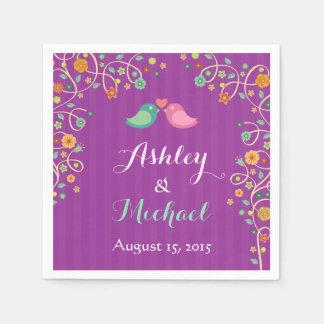 Stylish Purple Swirl Floral Love Birds Wedding Paper Napkin
