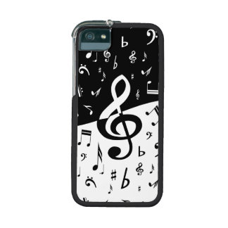 Stylish random musical notes design in black and w iPhone 5 cases