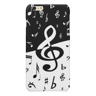 Stylish random musical notes design in black white glossy iPhone 6 plus case