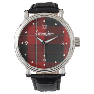 Stylish Red and Black Plaid Faced Custom Watch