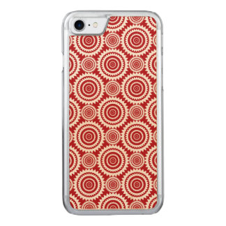 Stylish Red and White Geometric Circles Pattern Carved iPhone 8/7 Case