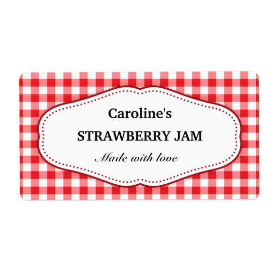 Stylish red and white gingham canning jar labels