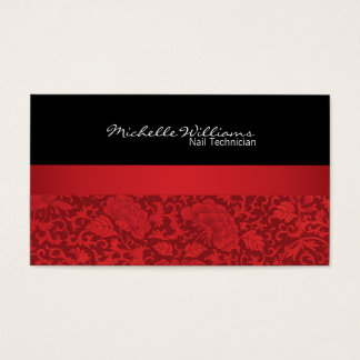 Stylish Red & Black Floral Brocade Business Card
