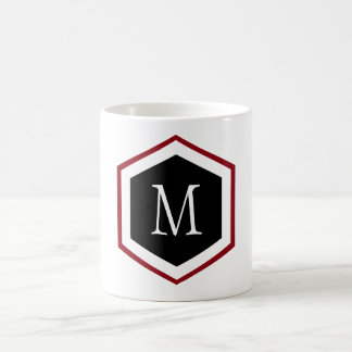 Stylish Red, Black & White Hexagon Circle Monogram Coffee Mug