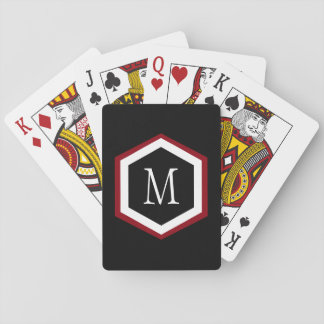 Stylish Red, Black & White Hexagon Circle Monogram Playing Cards