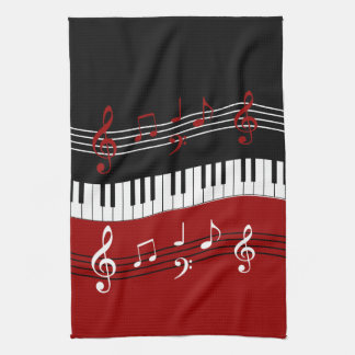 Stylish Red Black White Piano Keys and Notes Tea Towel