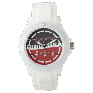 Stylish Red Black White Piano Keys and Notes Wrist Watch