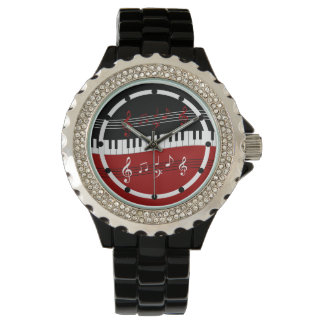 Stylish Red Black White Piano Keys and Notes Wrist Watches