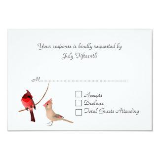 Stylish Red Cardinals Wedding RSVP Card