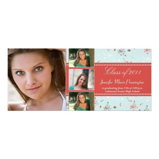 Stylish red floral 4 photo graduation announcement