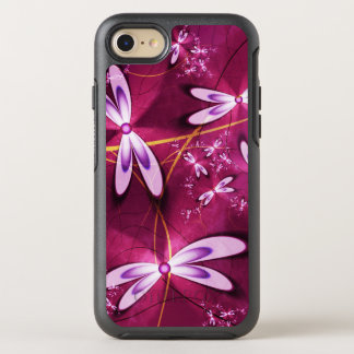 Stylish red Fractal Flowers OtterBox Symmetry iPhone 7 Case