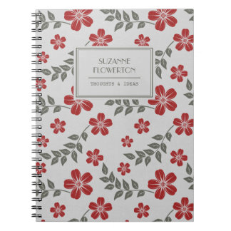 Stylish Red Grey Flowers and Leaves Personalised Spiral Notebooks