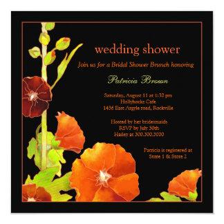 Stylish Red Hollyhocks Black Wedding Shower 13 Cm X 13 Cm Square Invitation Card