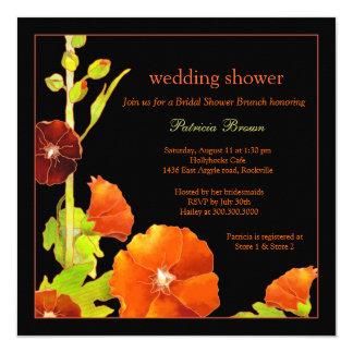"Stylish Red Hollyhocks Black Wedding Shower Invite 5.25"" Square Invitation Card"