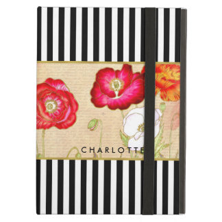 Stylish Red Poppy Floral Black Stripes With Name Case For iPad Air