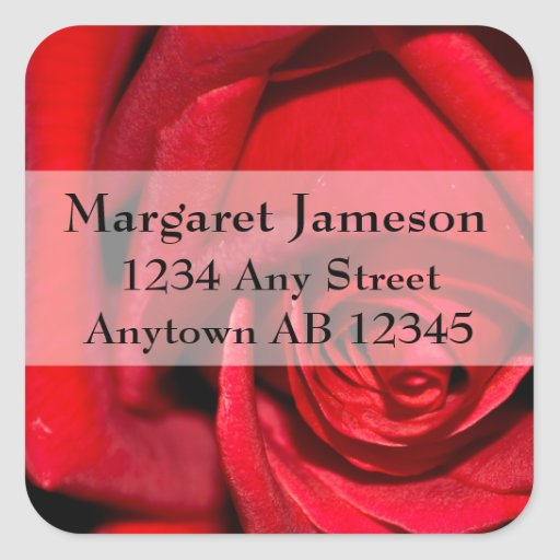 Stylish Red Rose Wedding Return Address Sticker