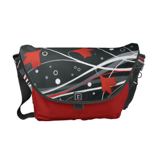 Stylish Red Vector Flowers & Swirls Commuter Bags