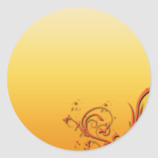 Stylish reddish swirls round sticker