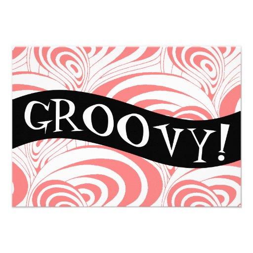 Stylish Retro Coral Galaxy Swirl Groovy Invitation